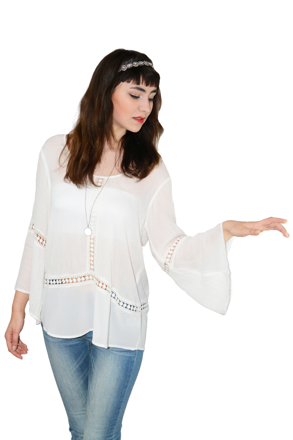 Crinkle gauze peasant top with bell sleeve — simply chic
