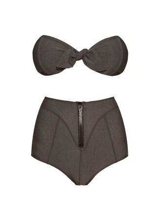 bikini bandeau bikini denim dark swimwear