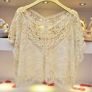 Fashion Women Beige Sweet Cute Crochet Lace Loose V neck Batwing Large Blouse Shirt Tops Tees-in T-Shirts from Apparel & Accessories on Aliexpress.com