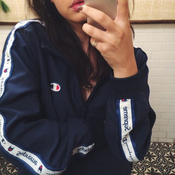 Black jacket blue jacket supreme jacket champion blue white tumblr blvck instagram ...