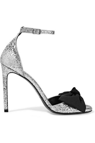 bow embellished sandals silver satin shoes