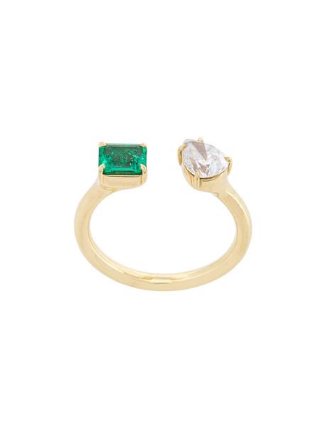 open women ring gold green yellow jewels
