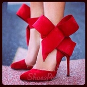 shoes,redheels,red,bow high heels,red high heels,heels,bow,bow heels,bow shoes,high heels,red heels,red bow,high heel pumps,xmas party dress,new year's eve,holiday season,party dress,party,sexy,sexy shoes,sexy dress,black dress,red dress,dress,bow tie shoes,prom shoes