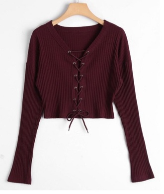 sweater girly knit burgundy jumper lace lace up