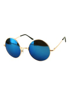 Blue Round Lens Sunglasses With Metal Frame - Choies.com
