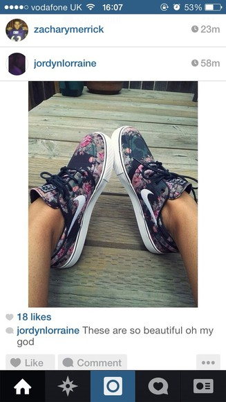 floral roses shoes flowers rose nike nike running shoes