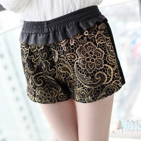 Women's spring autumn lace shorts empire waist shorts elastic waist trend all match shorts black-in Shorts from Apparel & Accessories on Aliexpress.com