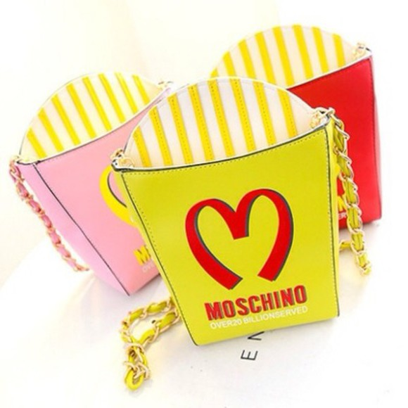 bag tote bag kawaii little heart yellow cheap japan gyaru ulzzang anime manga rad mcdonalds junk food clutch moschino colorful