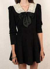black dress,dress,black,vintage,bart simpson,bow,grunge,soft grunge,indie,denim,overalls