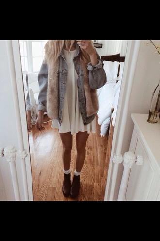 dress white white dress underwear fur scarf jacket jack denim vest fur coat scarf shoes washed out oversized denim jacket hipster
