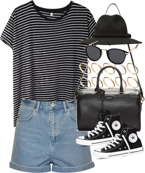 black and white striped shirt sunglasses blue shorts high waist shorts denim converse bangles striped shirt blak white