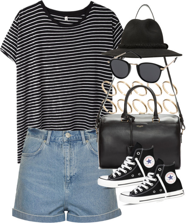 High waisted shorts denim blue shorts striped shirt black and white sunglasses converse bangle striped shirt blak white shorts shirt
