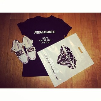 t-shirt black white blouse shoes converse stud diamonds twinkle