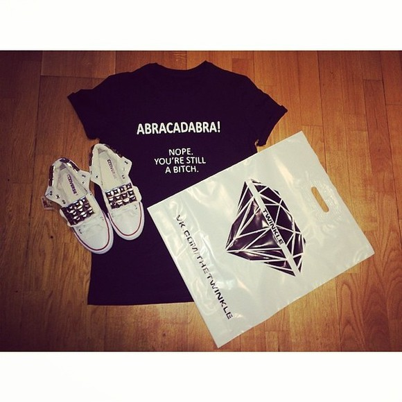 black shoes stud white twinkle converse diamond t-shirt blouse