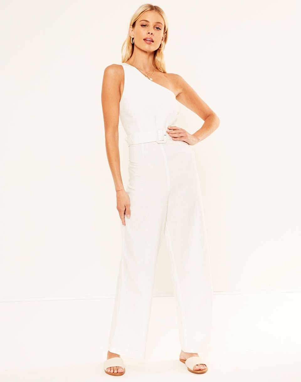 Linen Blend One Shoulder Jumpsuit