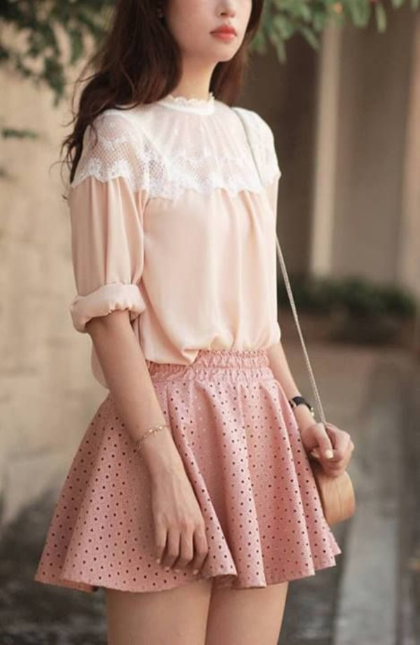 Blouse Skirt Pastel Cute Sweet Nice Girly Lace