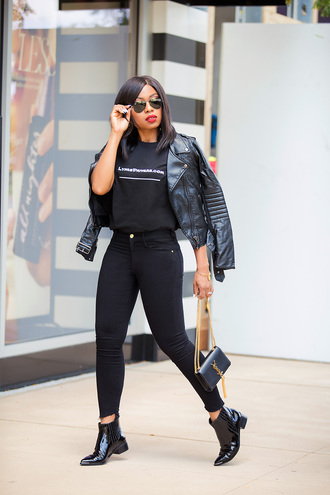 jadore-fashion blogger jeans t-shirt shoes jacket jewels sunglasses black leather jacket black pants ysl bag ankle boots all black everything