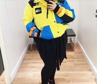 jacket yellow blue jacket thenorthface