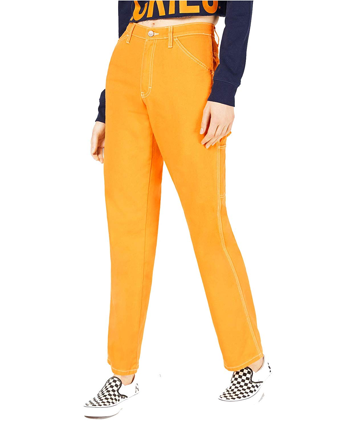 Amazon.com: Dickies Girl Juniors' Relaxed Fit High-Rise Twill Carpenter Pants: Clothing