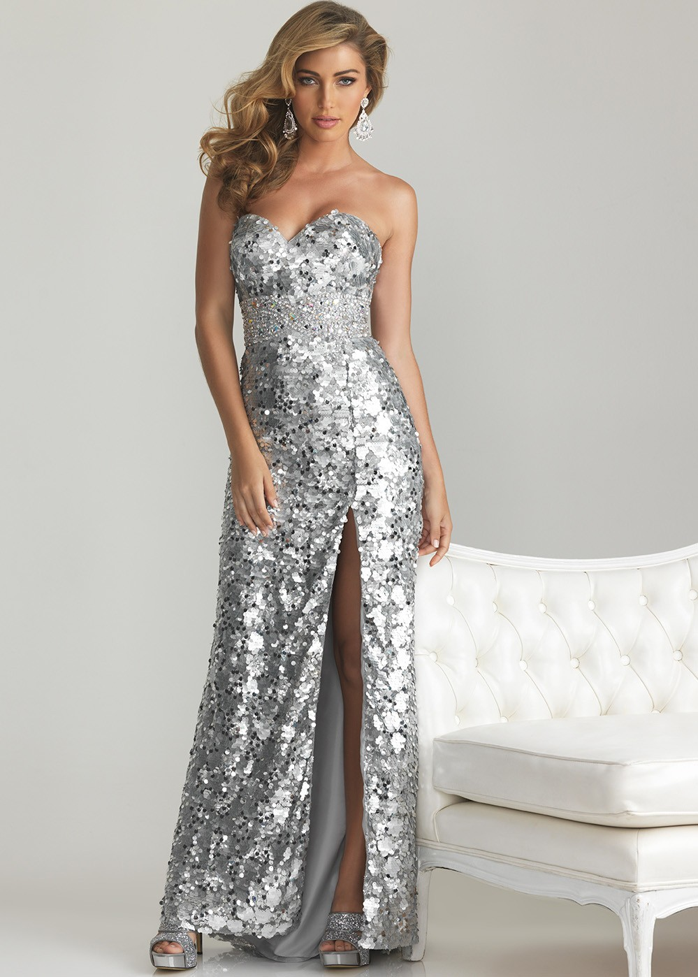 Night Moves 6755 Silver Strapless Sequin Sweetheart