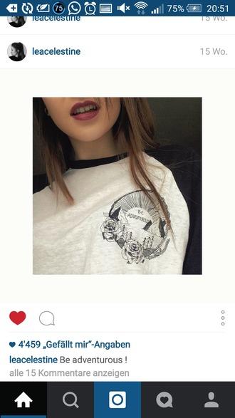 t-shirt adventurous sweatshirt shirt black white print pocket
