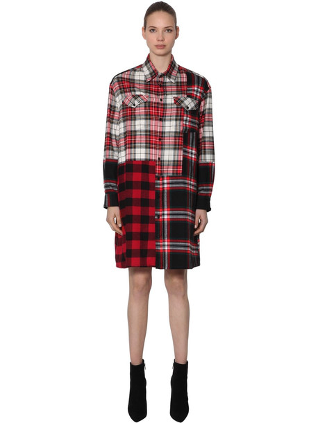 MCQ ALEXANDER MCQUEEN Patchwork Cotton Plaid Shirt Dress in red / multi