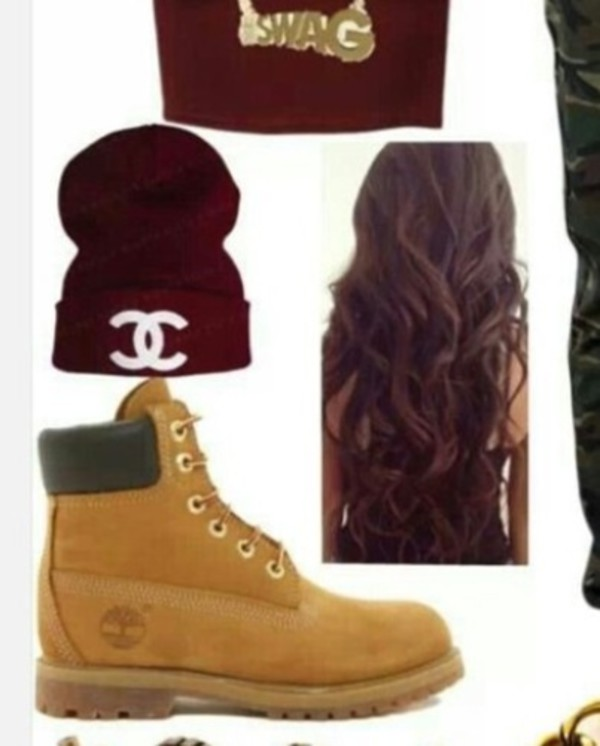 hat jeans khaki pants army print pants camouflage camo pants chanel beanie burgundy top timberlands outfit