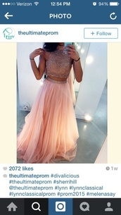 dress,two piece dress set,prom dress,two-piece,pink prom dress,rhinestones,gown,prom,skirt,tulle skirt,two piece prom dresses,glitter dress,2 piece skirt set,style,crop tops,pink dress,sparkly dress,tidetell dress,beaded prom dress,prom gown,blush pink,sparkle,glitter,pink,light pink dress,long prom dress,long dress,cute dress,formal,navy