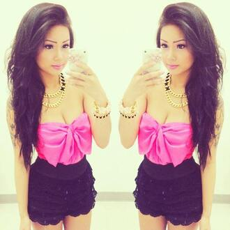 tank top pink tank top bow top lace shorts gold chain bows chain pink black lace shorts blouse