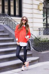 shoes,new balance,sneakers,grey sneakers,low top sneakers,denim,jeans,blue jeans,sweater,red sweater,sunglasses