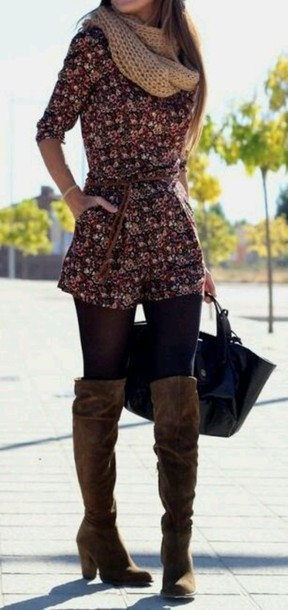 Blouse: jumpsuit, shoes, over the knee boots, suede boots, boots ...