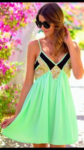 dress mint glitter gold black