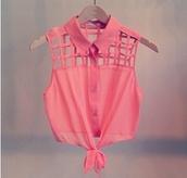 shirt,blouse,coral,peach,summer outfits,top,t-shirt,cute,crop tops,thank top,tank top