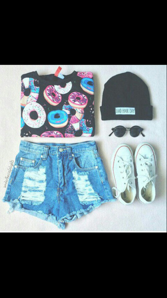 t-shirt donut sunglasses converse jeans