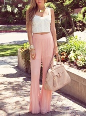 pants,harem,harem pants,bracelets,crop tops,pink,purse,necklace,cute,skirt,pink pants,pastel pink,cute high heels,chiffon,pleats,wide-leg pants,high waisted pants,bag,nude bag,top,white crop tops,lace top,summer outfits,stacked bracelets,choker necklace