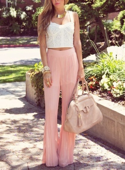 pants pink pink pants skirt pastel pink cute high heels harem harem pants bracelets crop tops purse necklace cute