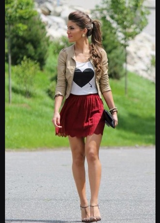 blouse heart red