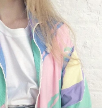 jacket pastel pink green yellow blue purple retro 90s jacket