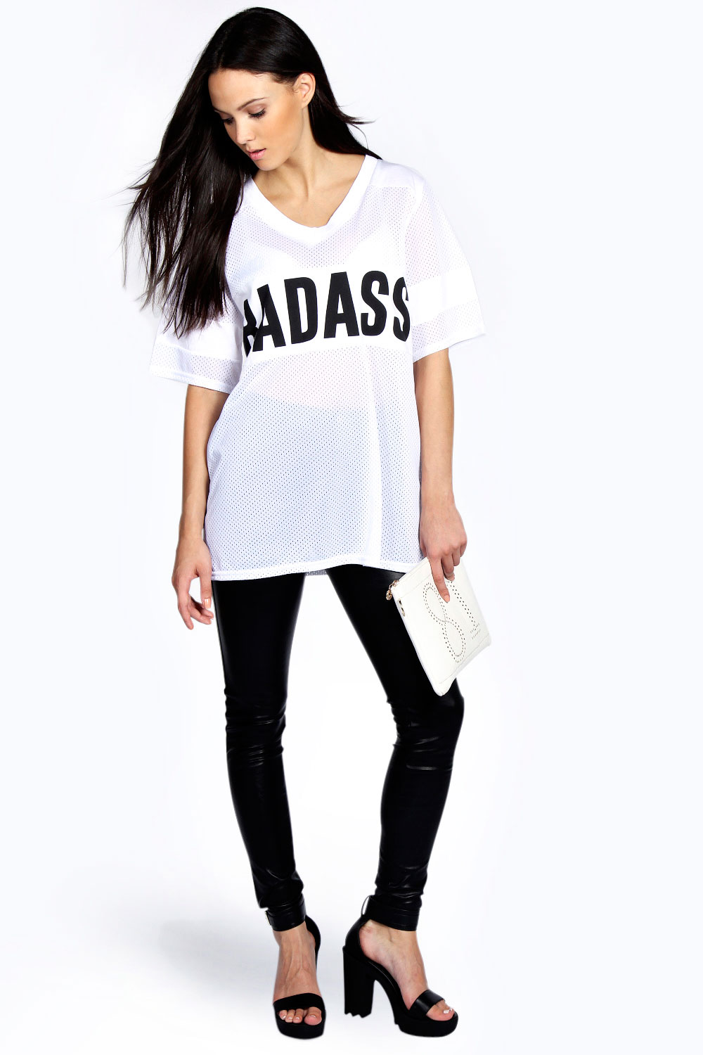 Anna Bad Ass Slogan Mesh Baseball Tee
