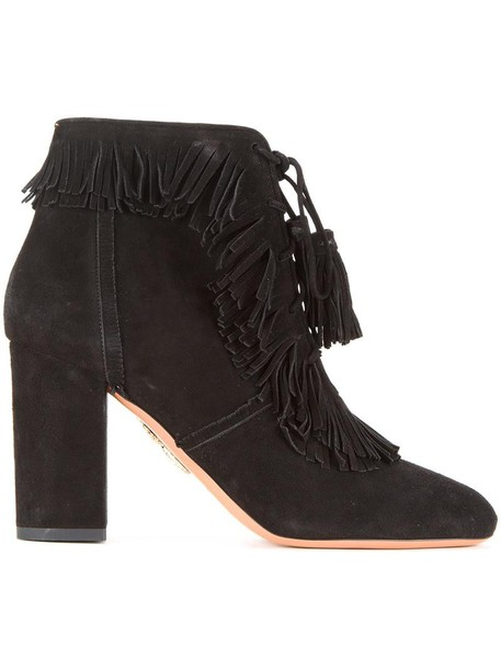 Aquazzura women booties leather black shoes