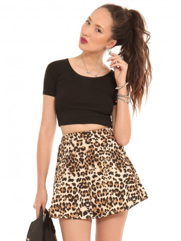 Leopard Print Skater Skirt June 2017