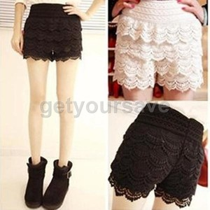 Mini skirt cute layer crochet tiered ruffles scalloped edge lace short pants