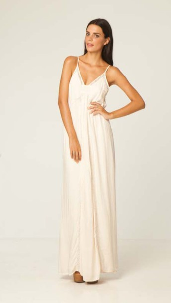 dress cream detailed boho maxi