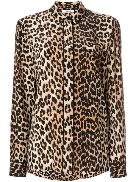 Ganni shirt women print silk brown leopard print top