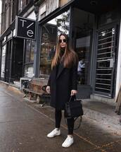 shoes,sneakers,white sneakers,jeans,skinny jeans,black jeans,coat,black coat,wool coat,turtleneck,handbag,leather bag,sunglasses