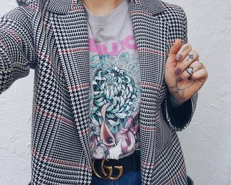 t-shirt jacket gucci belt blogger blogger style band t-shirt