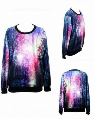 sweater maglione foresta forest galaxy black violet