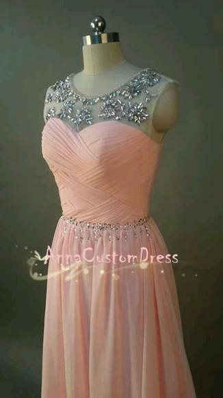 homecoming dress bridesmaid dress long blush pink bead prom straps a-line chiffon