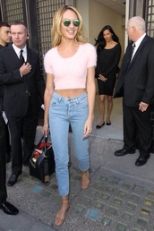 jeans,candice swanepoel,high waisted jeans,cropped jeans,victoria's secret,light denim,tank top,sunglasses
