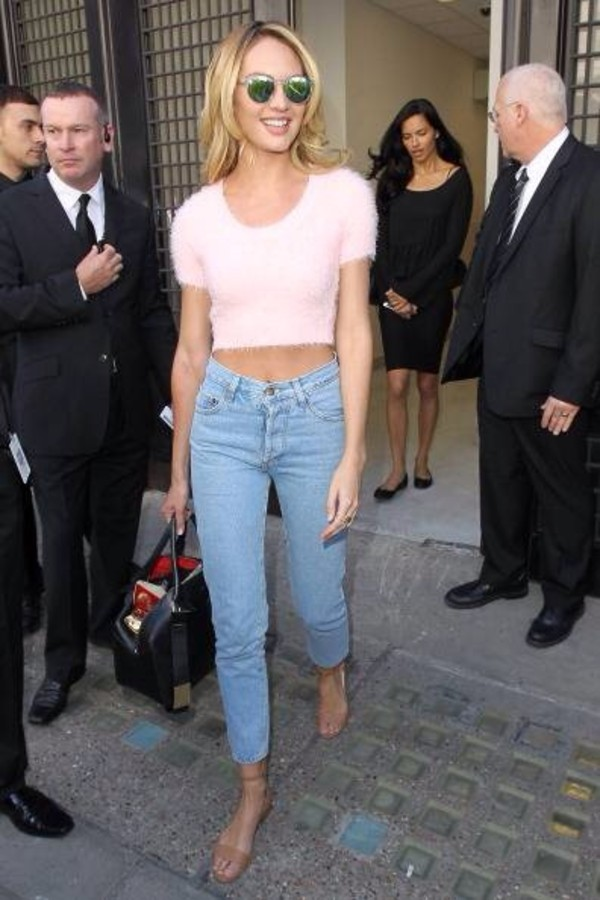 jeans, candice swanepoel, high waisted jeans, cropped ...